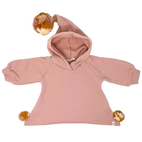 oh baby! Pixie Hooded Sweatshirt with Blush Multi Yarn Pom - Blush