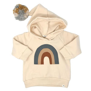 oh baby! Rainbow Pocket Hooded Sweatshirt - Natural
