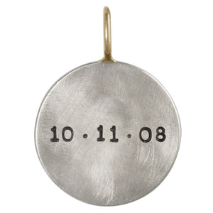 Heather Moore Name and Date Round Charm - oh baby!