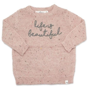 "oh baby! Flat Knit Dappled Boxy Sweater ""life is beautiful"", Pale Pink"