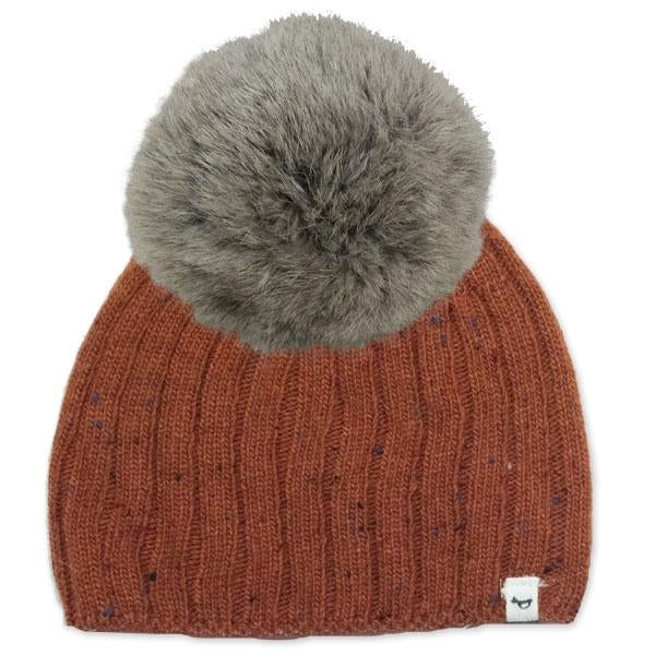 oh baby! Flat Knit Dappled Hat w/ Snap Fur Pom, Rust