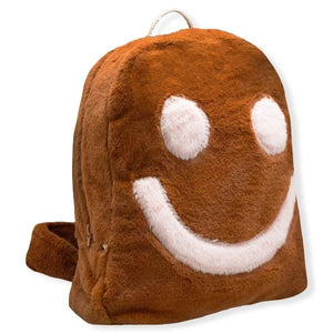 oh baby! Children's Fur Backpack with :) - Rust