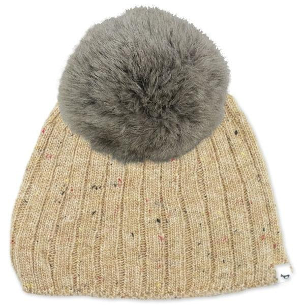 oh baby! Flat Knit Dappled Hat w/ Snap Fur Pom, Oat