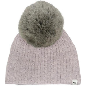 oh baby! Cable Knit Hat w/ Snap Fur Pom, Blush
