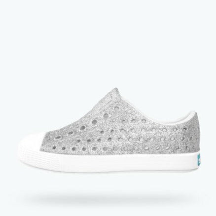 native Jefferson Bling Glitter Child Shoe - Silver