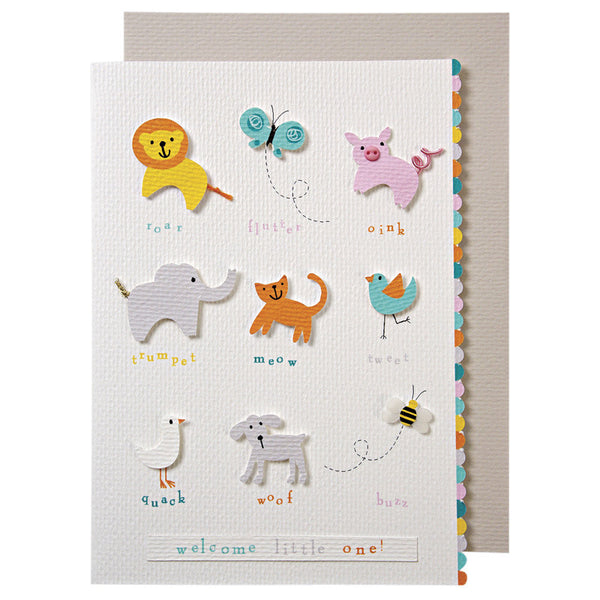 Meri Meri Animals with Sounds Greeting Card - oh baby!