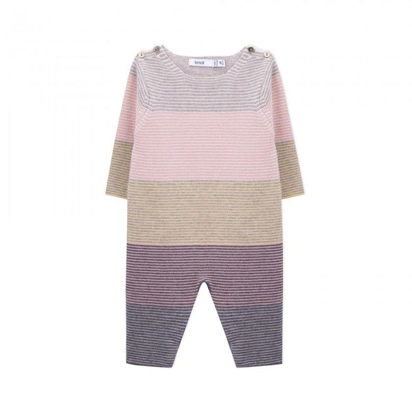 Cashmere Knitted Stripe Romper - Pink