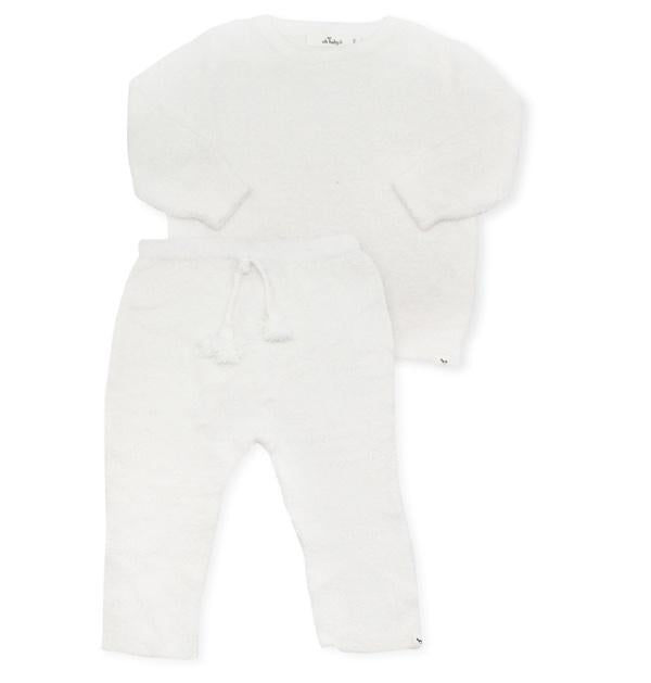 oh baby! Fuzzy Knit Brooklyn Boxy & Pant Set - Cream