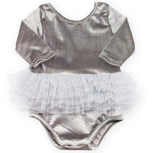 oh baby! Ballet Velvet Snap Leotard, Gray with Silver/Silver