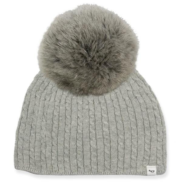 oh baby! Cable Knit Hat w/ Snap Fur Pom, Gray