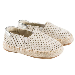 Robeez First Kicks Ellie Espadrille Infant Baby Shoes - Gold/Silver
