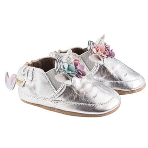 Robeez Uma Unicorn Infant Baby Shoes - Silver