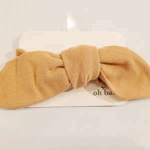 oh baby! Tie Turban Baby Rib Headband - Honey