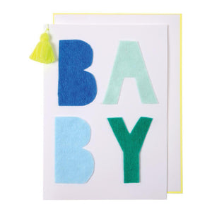 Meri Meri Blue Baby Greeting Card - oh baby!