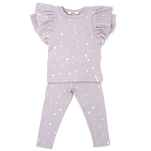 oh baby! Two Piece Set Butterfly Short Sleeve - Mini Stars Silver - Misty Lavender
