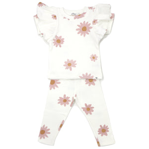 oh baby! Two Piece Set Butterfly Short Sleeve - Blush Daisies - Cream