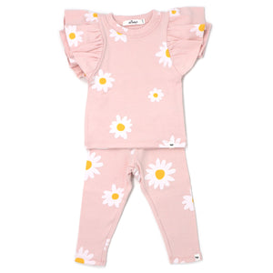oh baby! Two Piece Set Butterfly Short Sleeve - White Daisies - Pale Pink