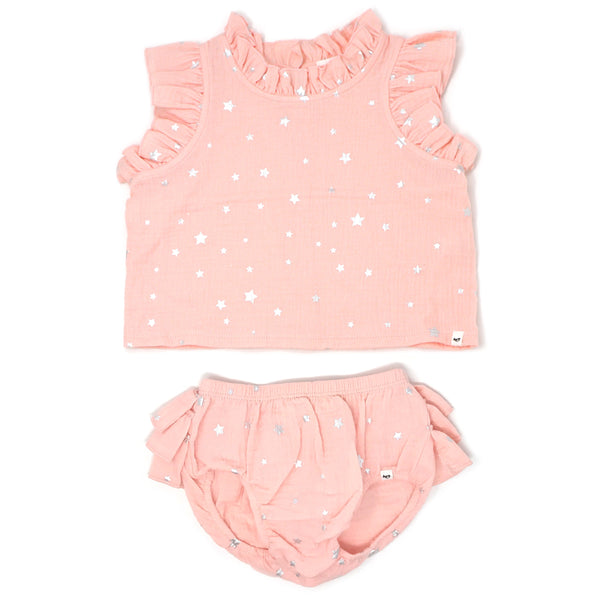oh baby! Lola Top and Tushie Set -  Silver Mini Stars - Pale Pink
