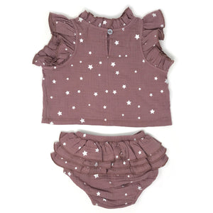 oh baby! Lola Top and Tushie Set - Silver Mini Stars - Thistle