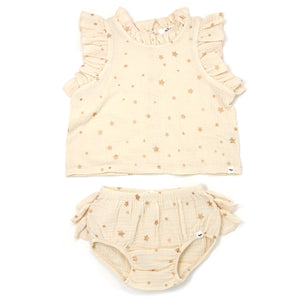 oh baby! Lola Top and Tushie Set - Rose Gold Mini Stars - Natural