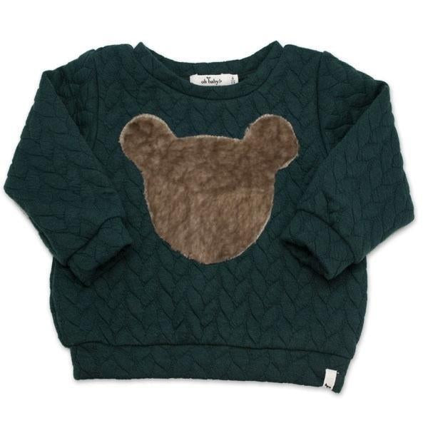 oh baby! Brooklyn Boxy Quilted Cable, Minky Bear, Forest