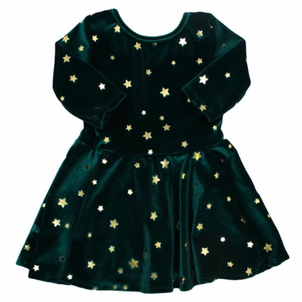 oh baby! Starry Velvet Dress, Forest with Gold Foil