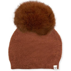 oh baby! Fuzzy Knit Snap Fur Pom Hat, Rust