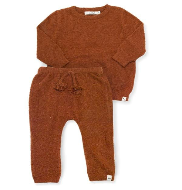 oh baby! Fuzzy Knit Brooklyn Boxy & Pant Set - Rust