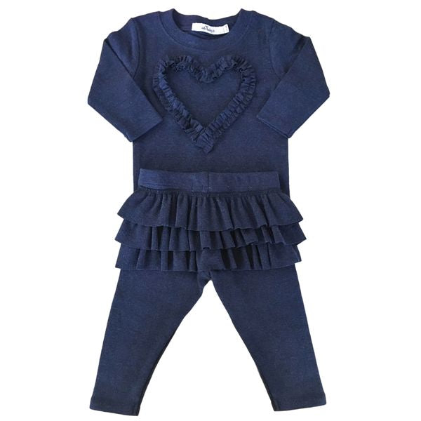 oh baby! Two Piece Set - Ruffle Heart - Navy - oh baby!