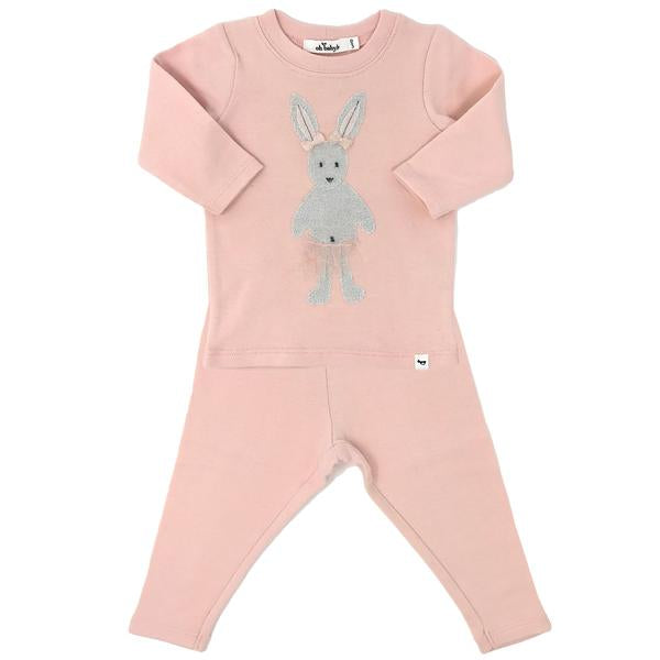 oh baby! Two Piece Set - Stardust Silver Ballerina Bunny with Pink Tutu Skirt - Pale Pink