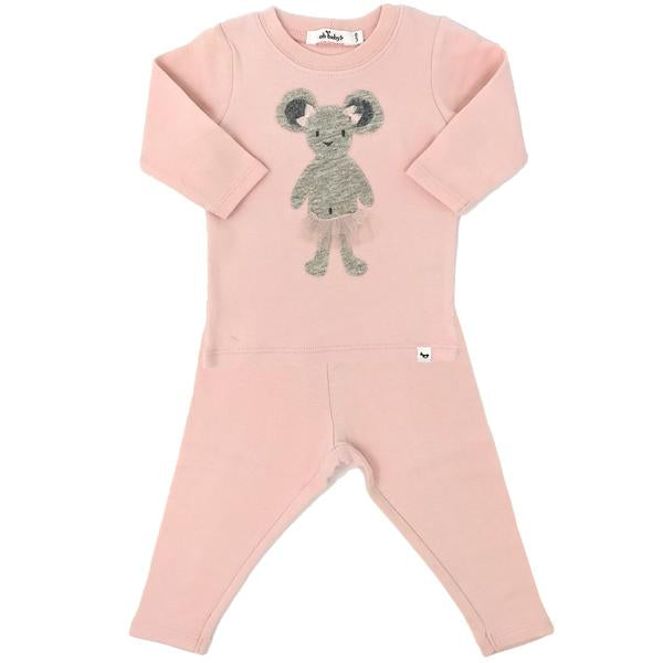 oh baby! Two Piece Set - Ballerina Mouse - Pale Pink