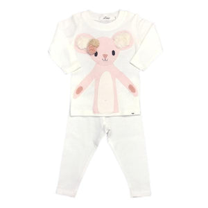 oh baby! Two Piece Set - Pom Pom Daisy Mouse Pink - Cream