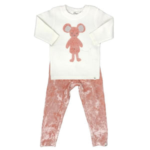 oh baby! Two Piece Set - Velvet Ragdoll Mouse Pink on Cream Mixed - Pale Pink Crush