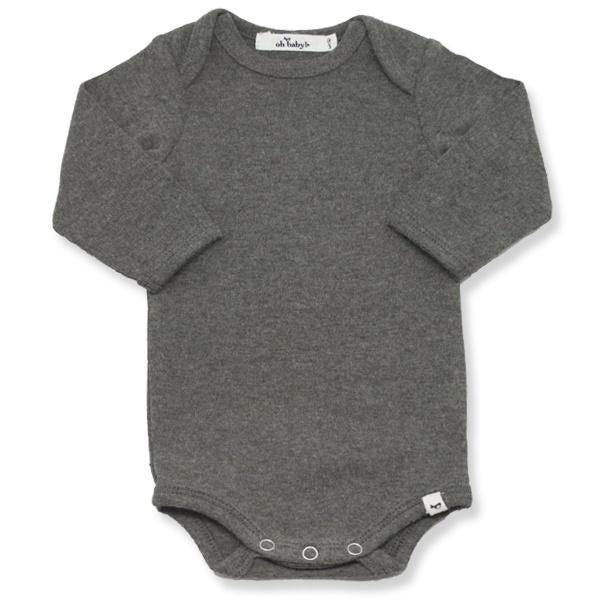 oh baby! Long Sleeve Onesie Baby Rib - Charcoal