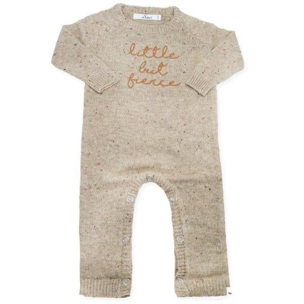 "oh baby! Flat Knit Dappled Romper ""little but fierce"", Oat"