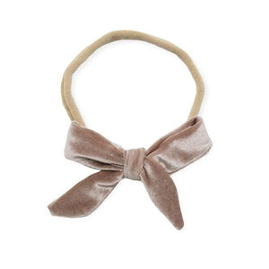 oh baby! School Girl Bow Velvet Medium Nylon Headband - Dusty Rose