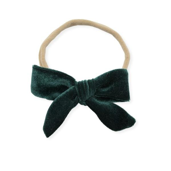 oh baby! School Girl Bow Velvet Medium Nylon Headband - Forest