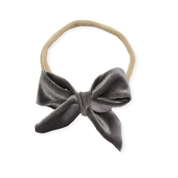 oh baby! School Girl Bow Velvet Medium Nylon Headband - Gray