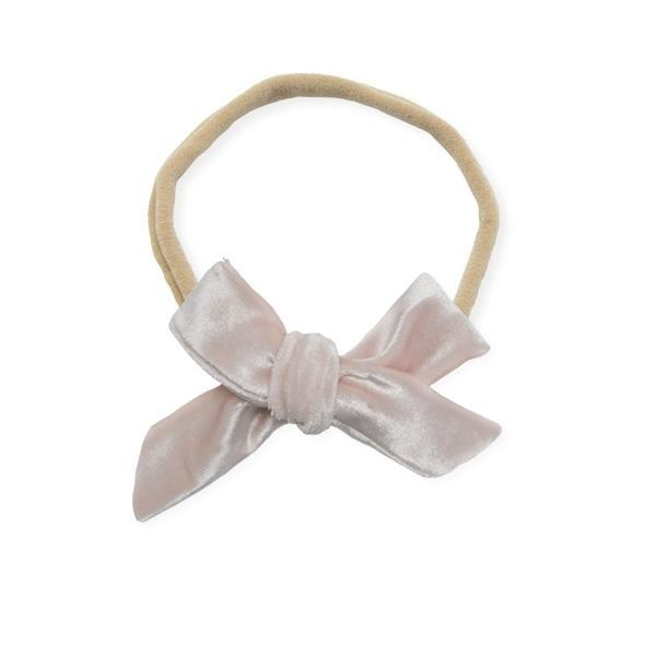 oh baby! School Girl Bow Velvet Medium Nylon Headband - Pale Pink