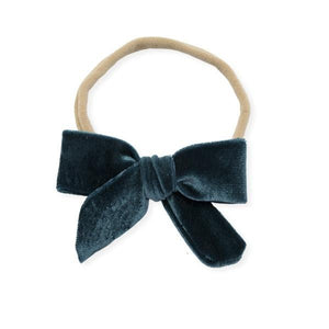 oh baby! School Girl Bow Velvet Medium Nylon Headband - Teal