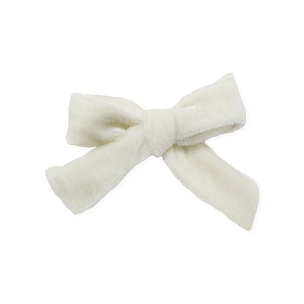 oh baby! School Girl Bow Velvet Medium Clip - Cream