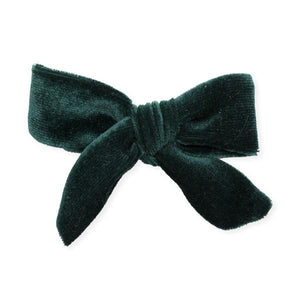 oh baby! School Girl Bow Velvet Medium Clip - Forest
