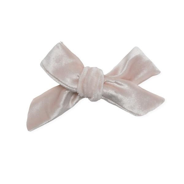 oh baby! School Girl Bow Velvet Medium Clip - Pale Pink