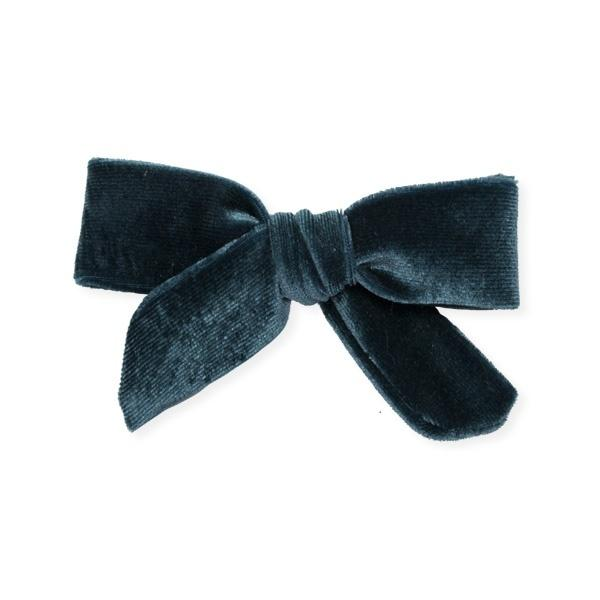 oh baby! School Girl Bow Velvet Medium Clip - Teal