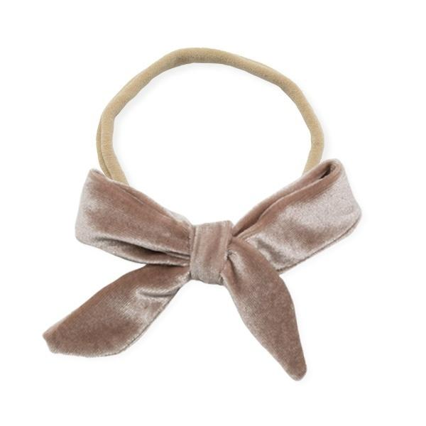 oh baby! School Girl Bow Velvet Large Nylon Headband - Dusty Rose