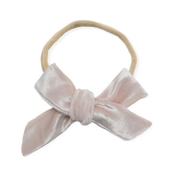 oh baby! School Girl Bow Velvet Large Nylon Headband - Pale Pink