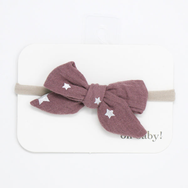 oh baby! School Girl Gauze Bow on Nylon Headband - Silver Mini Stars - Thistle