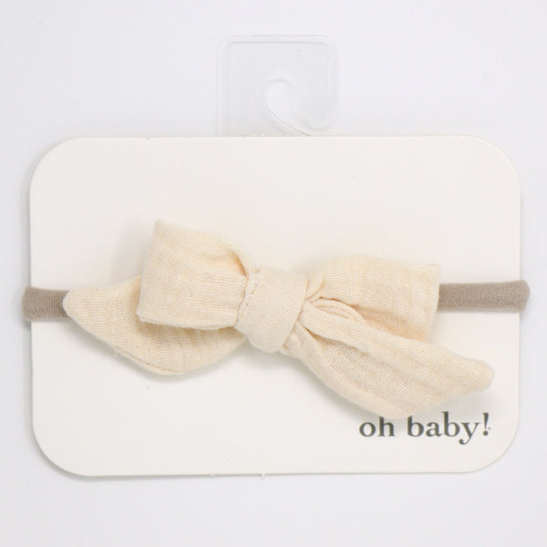 oh baby! School Girl Gauze Bow on Nylon Headband - Natural