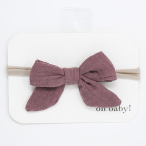 oh baby! School Girl Gauze Bow on Nylon Headband - Thistle