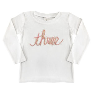 "oh baby! Long Sleeve Top ""three"" in Yarn - Pink/Gold"